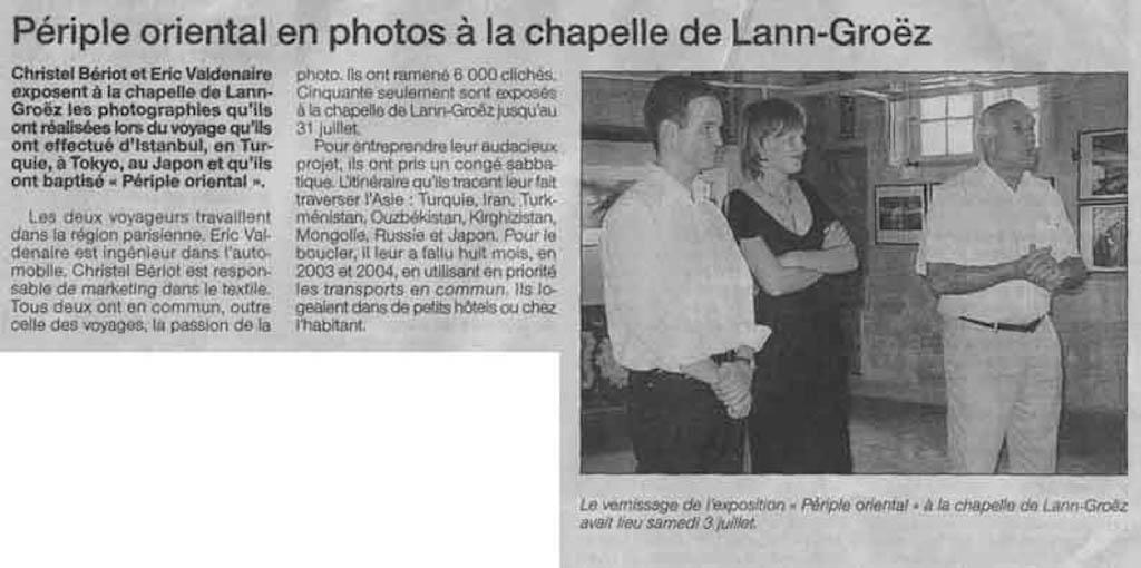 """Exposition """"périple oriental"""" - Article """"Ouest France"""""""