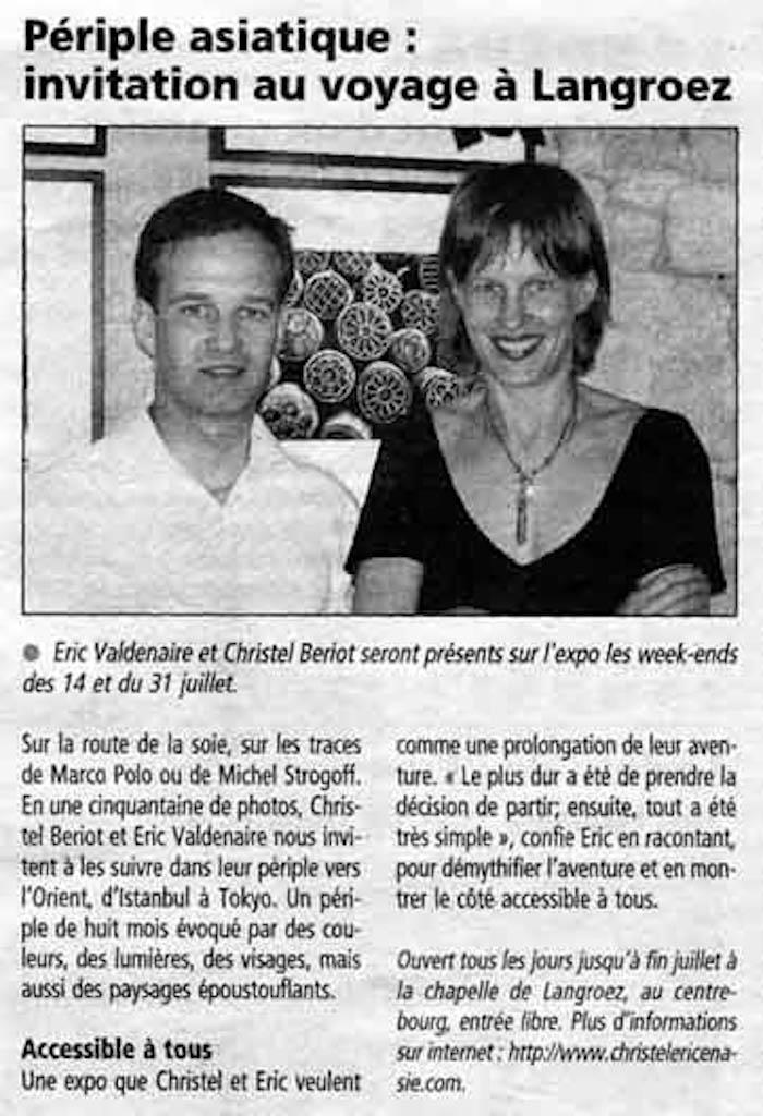 """Exposition """"périple oriental"""" - Article """"Le Télégramme"""""""