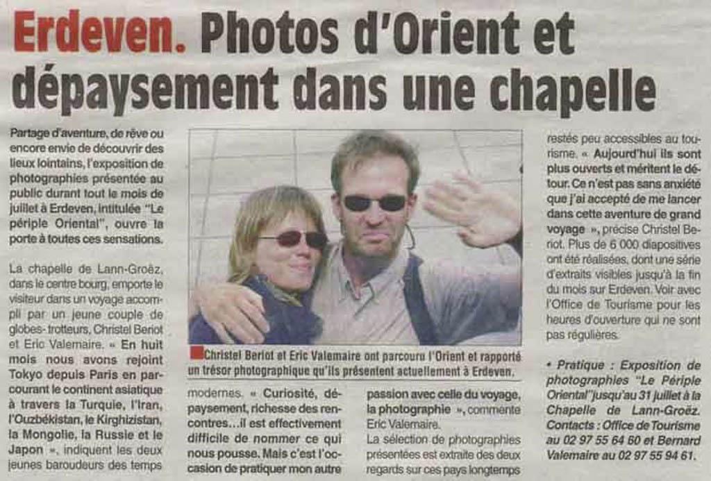 """Exposition """"périple oriental"""" - Article """"Le Pays d'Auray"""""""