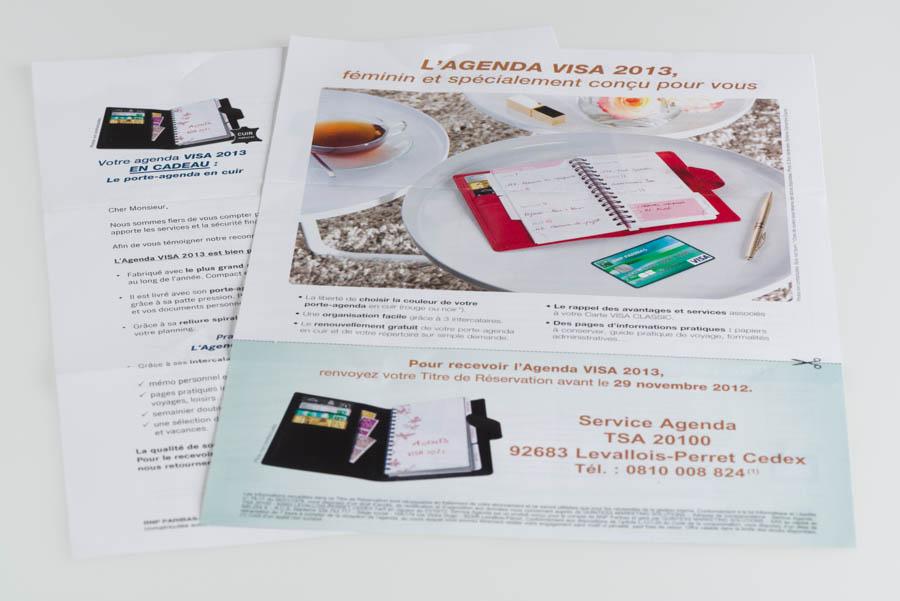 "Paper mailing of Visa Classic ""Femme"""