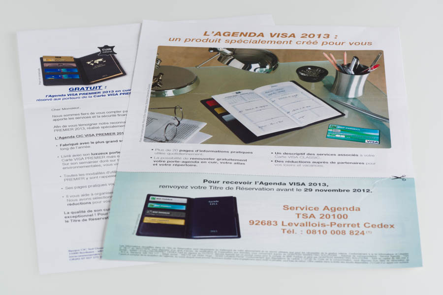 Paper mailing of Visa Classic Agenda