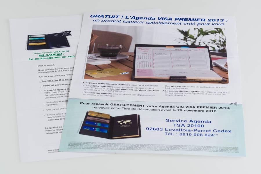 Paper mailing of Visa Premier Agenda