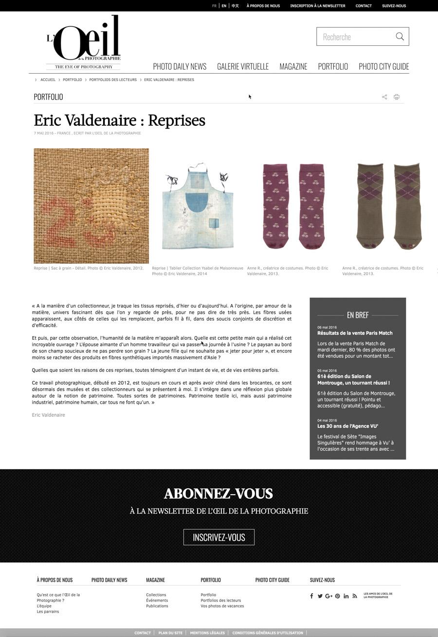 L'Oeil de la Photographie - Portfolio des lecteurs 7 mai 2016 | Eric Valdenaire - Reprises