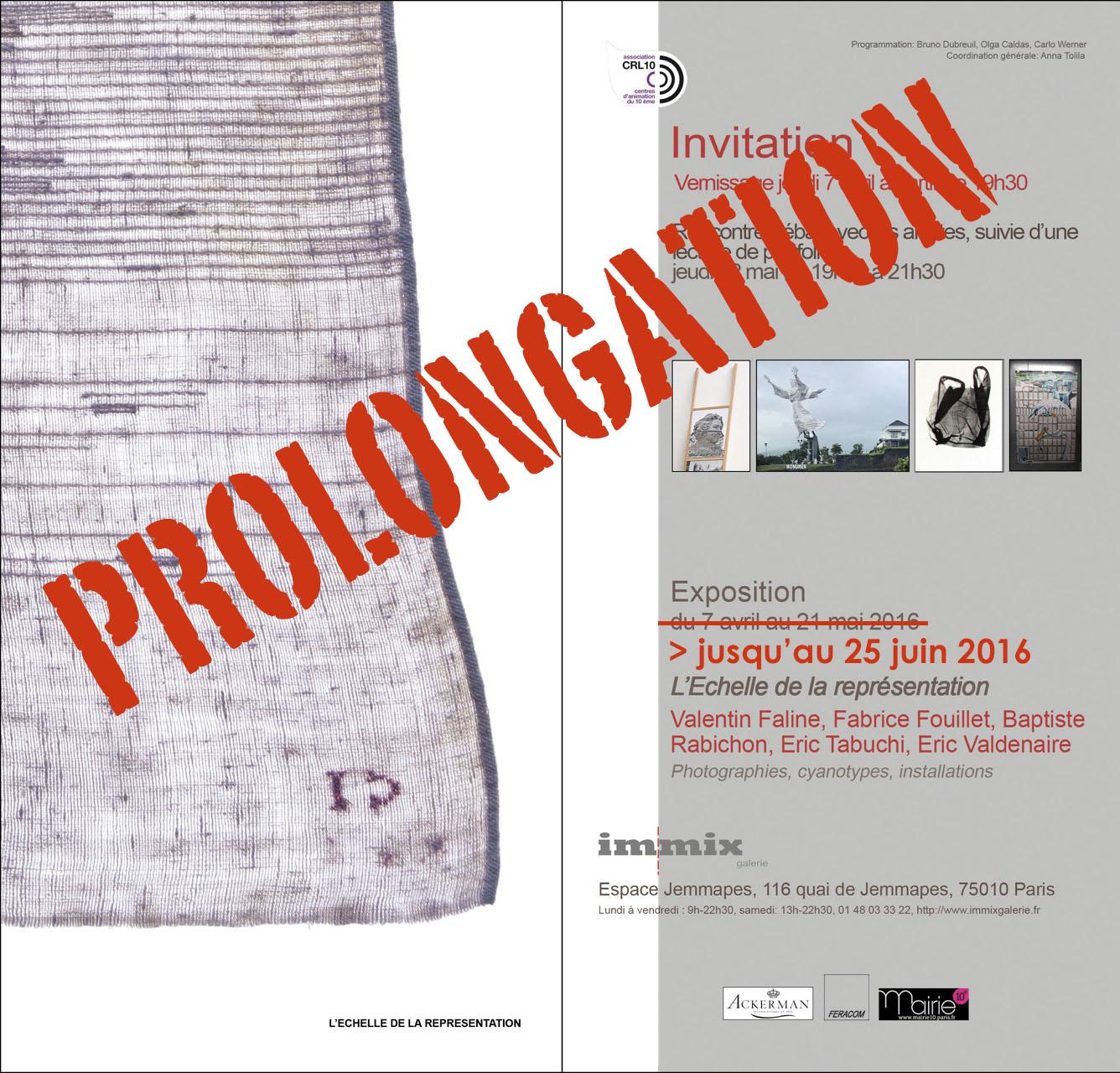 """Prolongation de l'exposition """"L'échelle de la représentation"""" à l'Immix Galerie"""